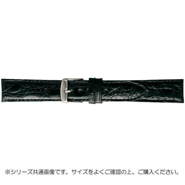 BAMBI バンビ 時計バンド エルセ ワニ革 ブラック(美錠:白) SWA007AP「他の商品と同梱不可/北海道、沖縄、離島別途送料」