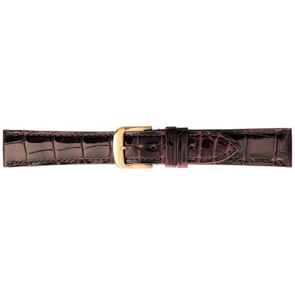 BAMBI バンビ 時計バンド グレーシャス ワニ革(クロコダイル) チョコ BWA005B-P「他の商品と同梱不可/北海道、沖縄、離島別途送料」