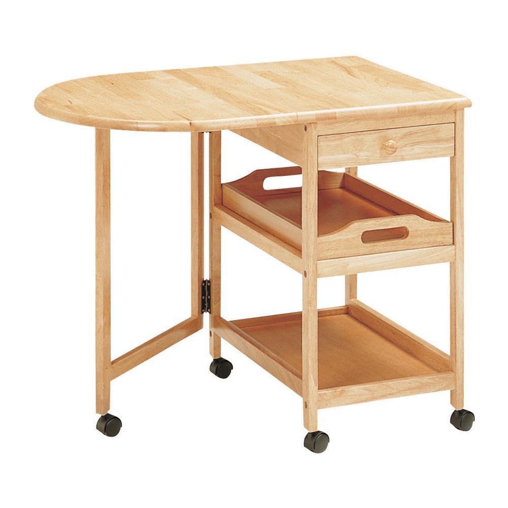 木製テーブル付ワゴン KW-415 NA「他の商品と同梱不可/北海道、沖縄、離島別途送料」