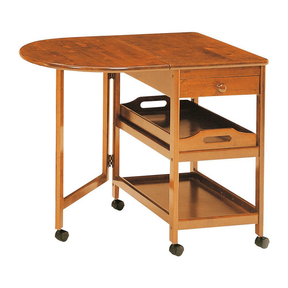 木製テーブル付ワゴン KW-415 BR「他の商品と同梱不可/北海道、沖縄、離島別途送料」