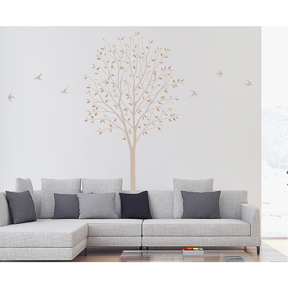 東京ステッカー ウォールステッカー 転写式 木とツバメ ベージュ Sサイズ TS-0027-ES「他の商品と同梱不可/北海道、沖縄、離島別途送料」