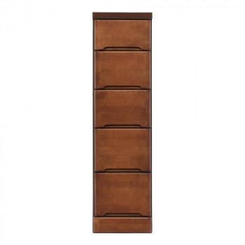 【代引不可】クライン サイズが豊富なすきま収納チェスト ブラウン色 5段 幅27.5cm「他の商品と同梱不可」