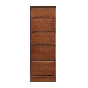 【代引不可】クライン サイズが豊富なすきま収納チェスト ブラウン色 5段 幅35cm「他の商品と同梱不可」