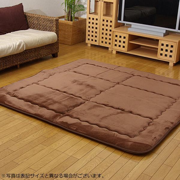 ふっくら敷きカーペット 『スムース』 ブラウン 約190×190cm 7013709「他の商品と同梱不可/北海道、沖縄、離島別途送料」