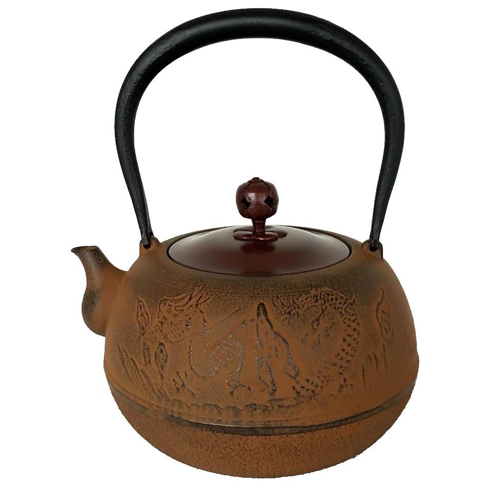 南部鉄器 鉄瓶 龍(銅蓋仕様) 0.8L「他の商品と同梱不可/北海道、沖縄、離島別途送料」