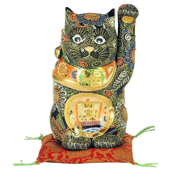 九谷焼 6号招猫 黒盛宝船 N193-04「他の商品と同梱不可/北海道、沖縄、離島別途送料」