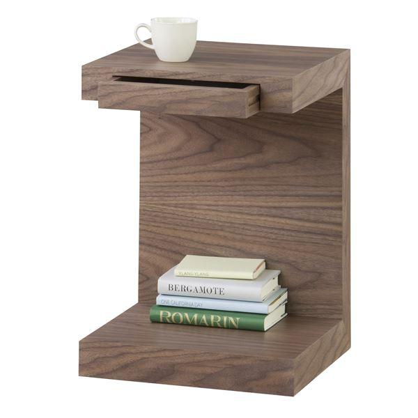 ◇サイドテーブル(ラウル) 正方形 木製(ウォールナット) JST-443※他の商品と同梱不可