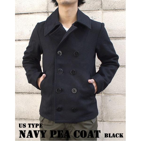 ◇USタイプ海軍 ピーコート JC043YN ブラック 40( L) 【 レプリカ 】 ※他の商品と同梱不可