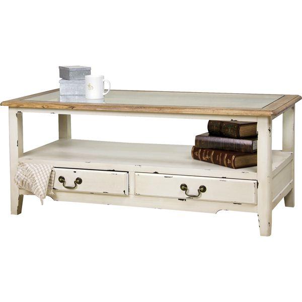 ◇コーヒーテーブル 【ブロッサム】 木製/強化ガラス製 引き出し収納付き COL-013※他の商品と同梱不可