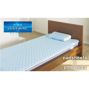 ◇クールレイ(R) パッドシーツ + 枕パッド ダブル ブルー 綿100% 日本製※他の商品と同梱不可