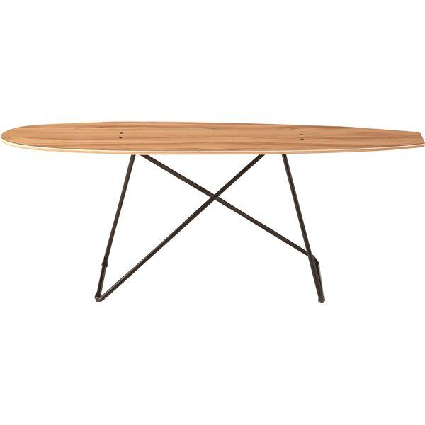 ◇デザインリビングテーブル(スケートボード型テーブル) 木製/スチール SF-200※他の商品と同梱不可