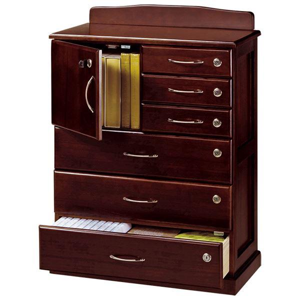 ◇リビングチェスト 「全段鍵付き家具シリーズ」 木製 幅62cm×奥行32cm×高さ85cm※他の商品と同梱不可