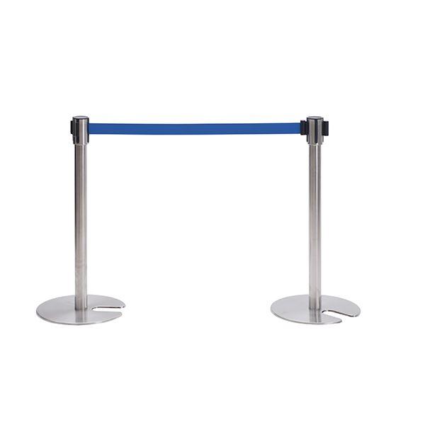 ◇ベルトパーティションSUS SUS-800-BL ■カラー:ポール色:ステンレス:ベルト色:ブルー【代引不可】※他の商品と同梱不可