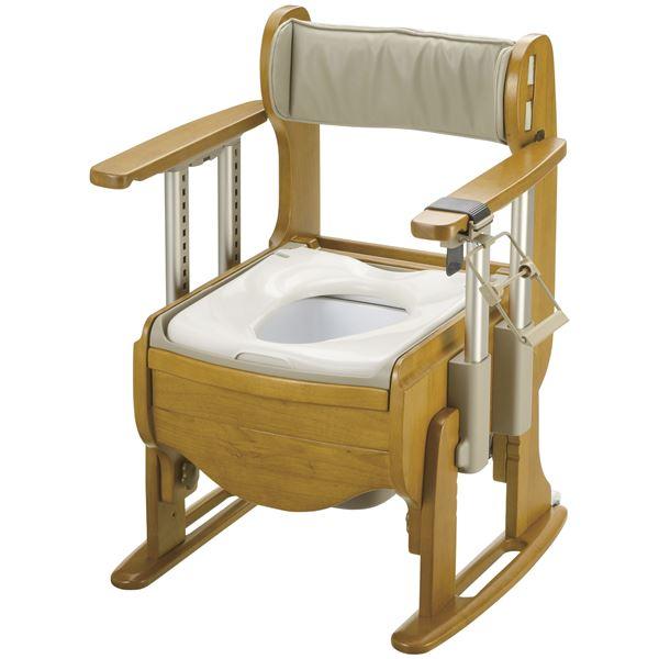 ◇リッチェル 木製ポータブルトイレ 木製トイレ きらく 座優 肘掛昇降 (1)普通便座 18670※他の商品と同梱不可