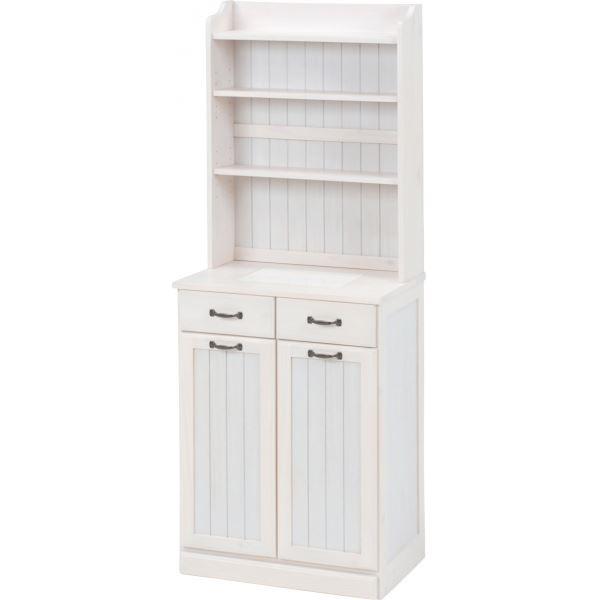 ◇ダストボックス 木製おしゃれゴミ箱 2分別 25Lペール2個付き 白(ホワイト) 【代引不可】※他の商品と同梱不可