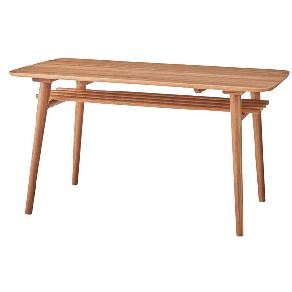◇北欧調ダイニングテーブル/リビングテーブル 【幅135cm】 収納棚付き 木製 NYT-621※他の商品と同梱不可