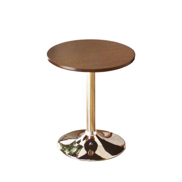 ◇ラウンドテーブル(丸型テーブル) 幅Φ50cm 木製 スチール 木目調 ブラウン【代引不可】※他の商品と同梱不可
