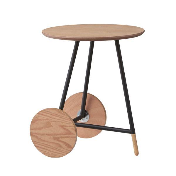 ◇サイドテーブル/円形ミニテーブル 【Lサイズ】 直径45cm×高さ55cm スチール×木製 『オセロ』 END-112L※他の商品と同梱不可