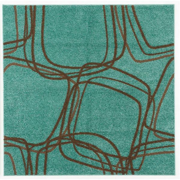 ◇ホット&クール ナイロンラグ レシェ 200×200cm グリーンブルー【代引不可】※他の商品と同梱不可
