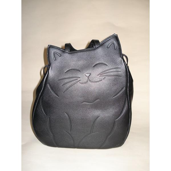 ◇牛革猫型おすましリュック ブラック 〔リュックサック/ハンドバッグ〕※他の商品と同梱不可