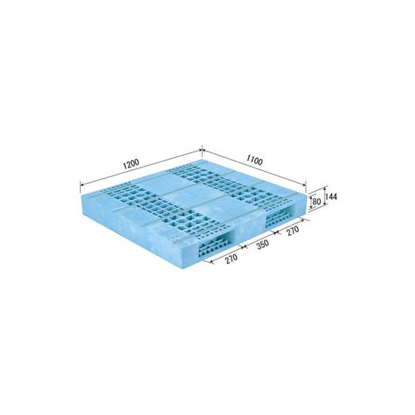◇三甲(サンコー) プラスチックパレット/プラパレ 【両面使用型】 段積み可 R2-1112F ライトブルー(青)【代引不可】※他の商品と同梱不可