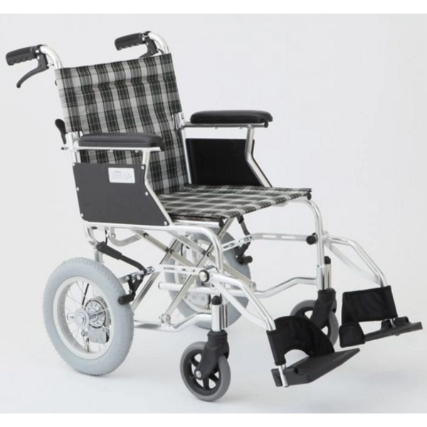◇介助式車椅子 チェックグリーン(緑) アルミ製 バンドブレーキ仕様/軽量コンパクトタイプ 【MIWA】 ミワ HTB-12D【代引不可】※他の商品と同梱不可
