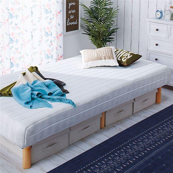 ◇脚付き圧縮マットレスベッド 【ホワイト シングル】 幅97cm 木製 ベッド下収納可 〔寝室 ベッドルーム〕※他の商品と同梱不可