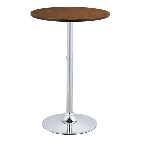 ◇ハイテーブル(ラウンドテーブル/バーテーブル) 直径60×高さ90cm スチールフレーム/木目調 ブラウン※他の商品と同梱不可