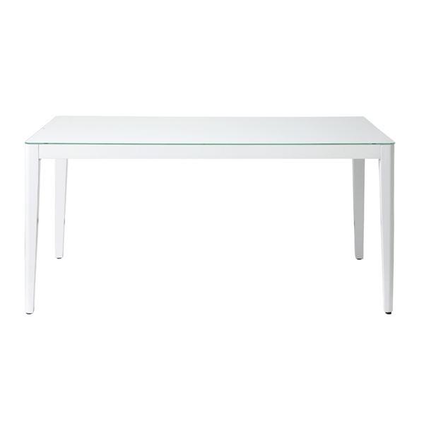 ◇あずま工芸 ダイニングテーブル 幅150cmガラス天板 ホワイト【2梱包】 GDT-7681【代引不可】※他の商品と同梱不可