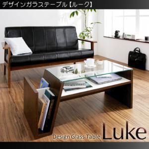 ローテーブル/サイドラック機能付き/センターテーブル コーヒーテーブル 木製 ガラステーブル シンプル レトロ モダン アンティーク テーブル