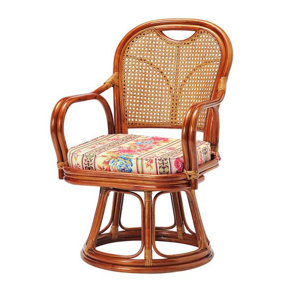 【期間限定クーポン配布中】ラタン回転椅子【籐】【ミドルタイプ】/高座椅子 座椅子 回転 回転式 おしゃれ 肘掛け 肘掛け椅子 おしゃれ座椅子 回転椅子 回転座椅子