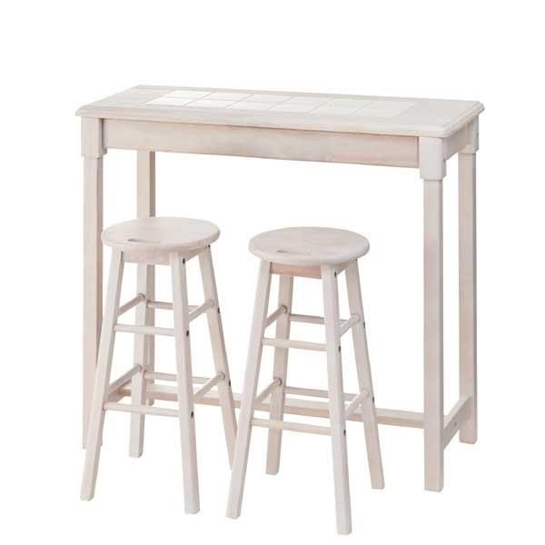 【天然木】カウンタースツールセット(テーブル+スツール2脚)/カウンターテーブル カウンタースツール スツール チェア 椅子 一人掛けソファ 一人掛け 1人掛け ひとり掛け 1P 足置き 足置き台 来客用 背もたれなし
