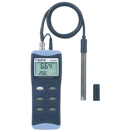 佐藤計量器/SATO ペーハー測定器pH計 pH測定器 水質測定器 土壌測定器 自動温度補正 ハンディ型pH計 SK-620PHll(標準センサ PHP-31付)6435-00【送料無料(沖縄県除く)】