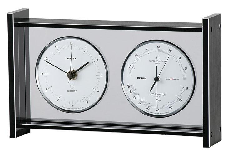 温湿度計 高精度 エンペックス 時計 アナログ 日本製 置き型 スーパーEXギャラリー温・湿度・時計 EX-792【送料無料(沖縄県除く)】