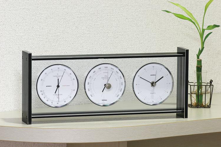 温湿度計 高精度 エンペックス 時計 気圧計 アナログ 日本製 置き型 スーパーEXギャラリー気象計・時計 EX-793【送料無料(沖縄県除く)】