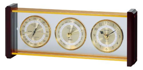温湿度計 高精度 エンペックス 時計 気圧計 アナログ 日本製 置き型 スーパーEX気象計・時計 EX-743【送料無料(沖縄県除く)】