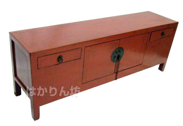 【送料無料】アレックス 李朝風・古時代家具 サイドボード(SS) 赤艶消し 布目調