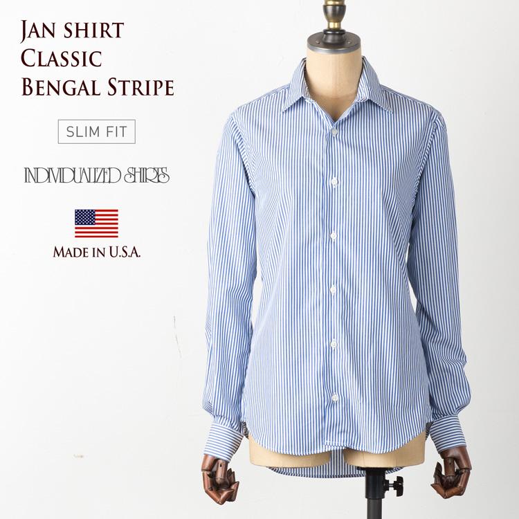 インディビジュアライズドシャツ レディース ジャンシャツ ベンガルストライプ ネイビー [スリムフィット/SLIM FIT] D86BBS-G INDIVIDUALIZED SHIRTS JAN SHIRT【送料無料】