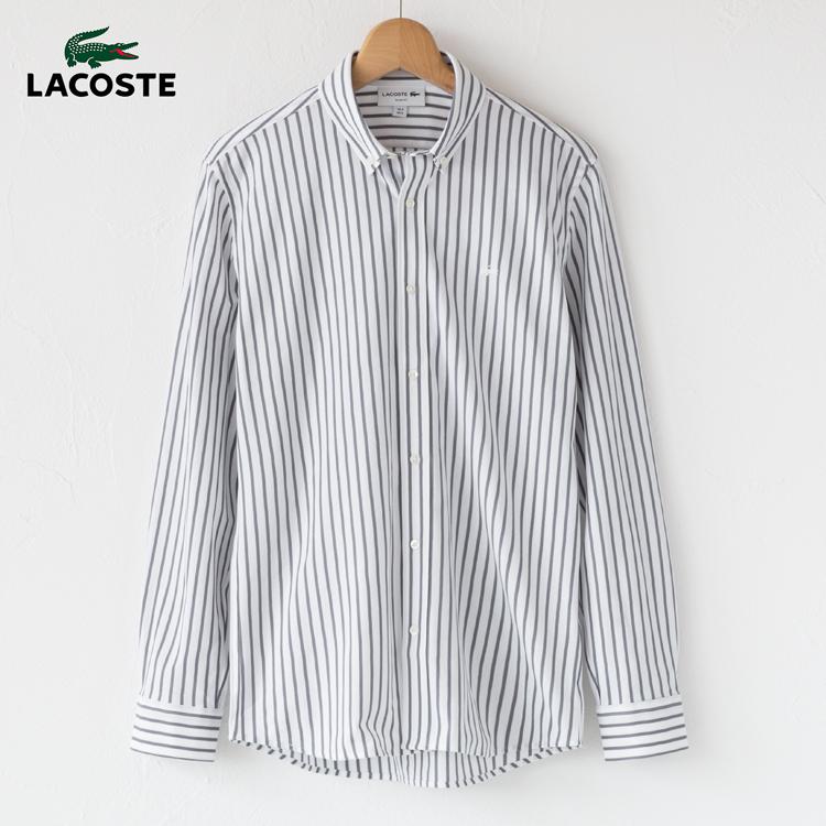 ラコステ ストライプ ピケ ボタンダウンシャツ PH771EL スリムフィット