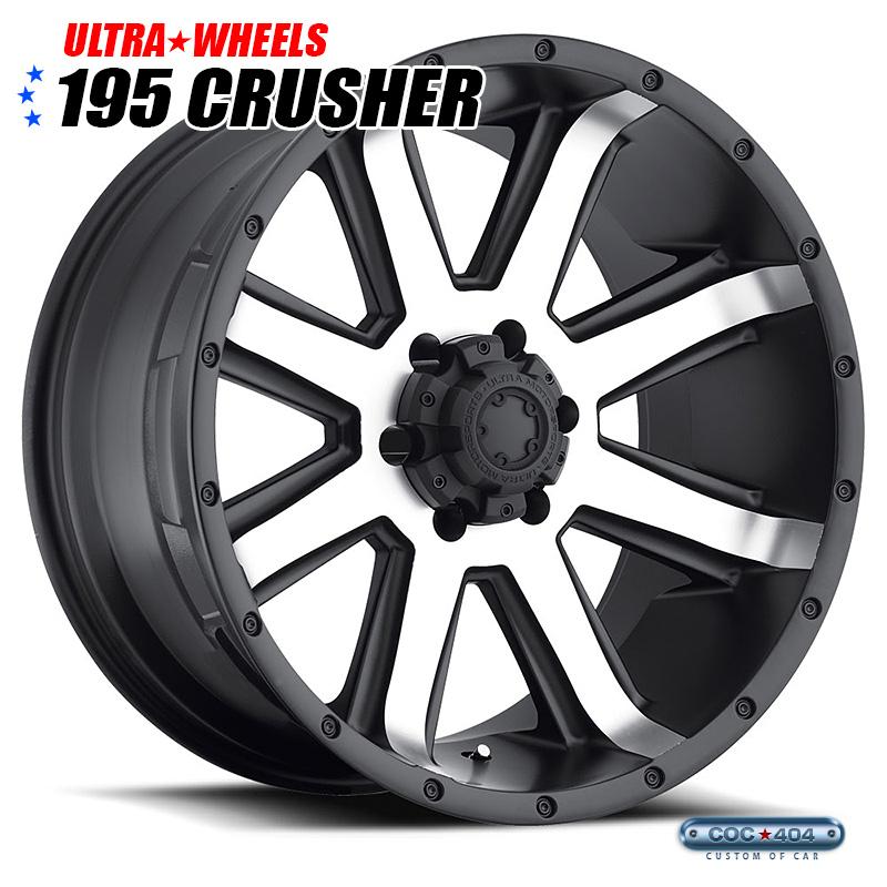 【18インチ 8.5J】Ultra 195U Crusher ダイヤモンドカット&サテンブラックリップ 1本