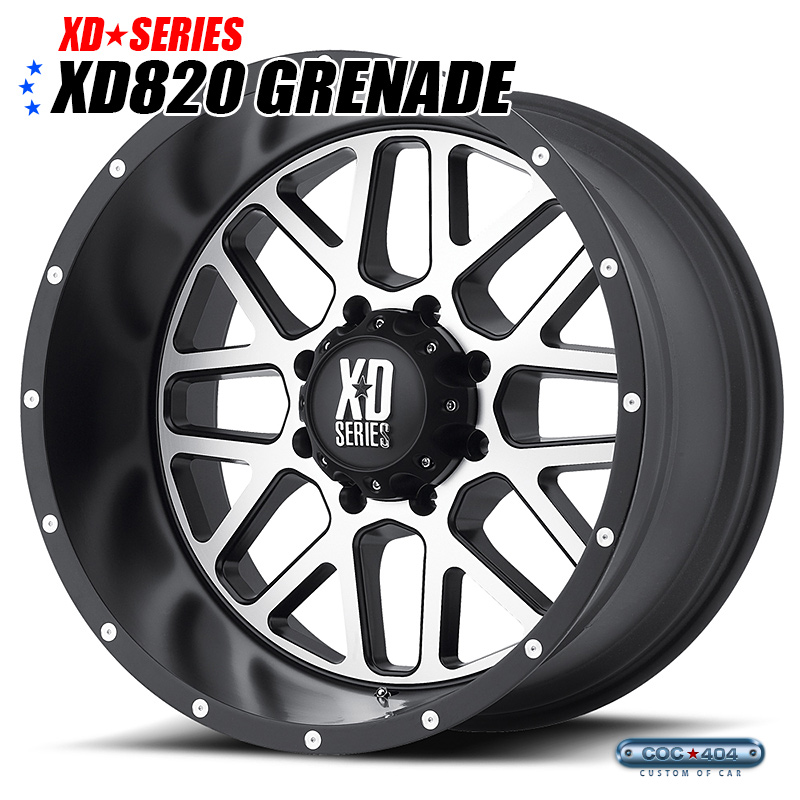 【18インチ 8J】KMC XD820 Grenade (グレネード) サテンブラック&シルバー 1本