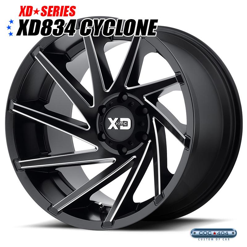 【18インチ 9J】KMC XD834 Cyclone サテンブラック&シルバーアクセント 1本