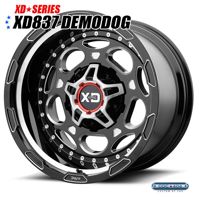 【20インチ 12J】KMC XD837 Demodog グロスブラック&シルバーアクセント 1本