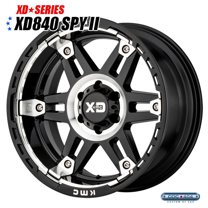 【17インチ 8J】KMC XD840 Spy2 サテンブラック&シルバーアクセント 1本