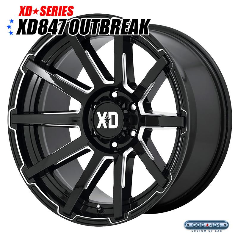 【20インチ】KMC XD847 Outbreak グロスブラック&シルバーアクセント 1本