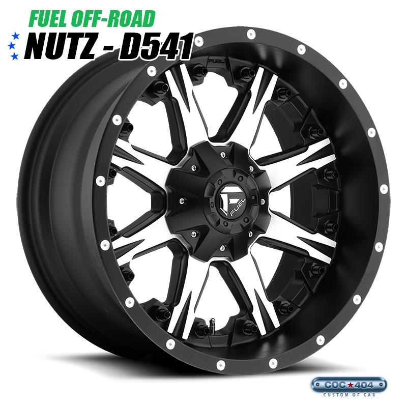 【20インチ 9J】Fuel Offroad D541 Nutz グロスブラック&シルバー 1本