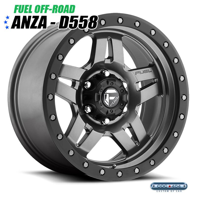 【17インチ 8.5J】Fuel Offroad D558 Anza マットグレー&ブラックリング 1本