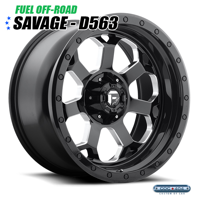 【17インチ】Fuel Offroad D563 Savage グロスブラック&シルバーアクセント 1本