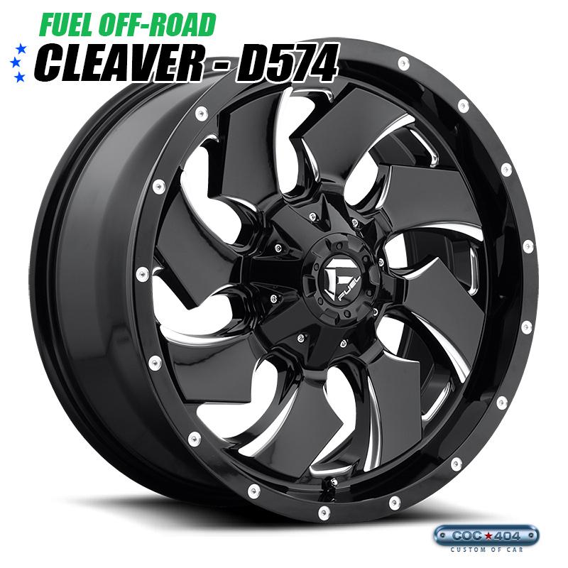 【18インチ 9J】Fuel Offroad D574 Cleaver グロスブラック&シルバーアクセント 1本