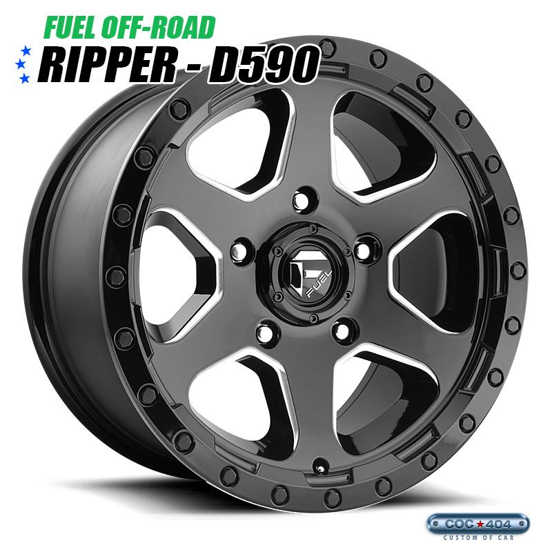 【18インチ 9J】Fuel Offroad D590 Ripper グロスブラック&シルバーアクセント 1本